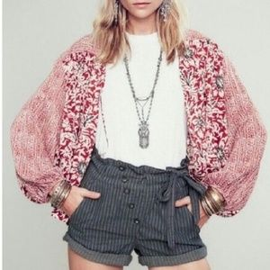 FREE PEOPLE Red Rogue Floral Open Front Kimono S